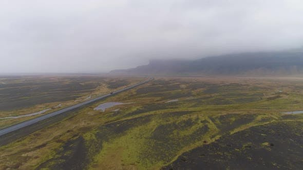 Thumbnail for Car on Road and Icelandic Landscape. Aerial View