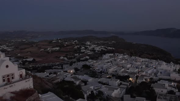 Thumbnail for Little Village on a Mountain Site After Sunset with White Houses, Aerial View