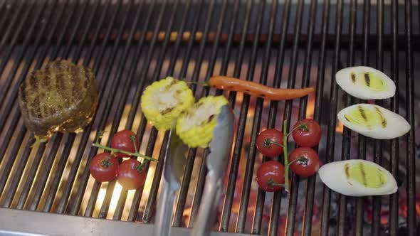 Thumbnail for Chef Cooking Vegetable on the Grill in the Restaurant Kitchen