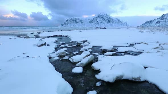 Thumbnail for Creek on the Winter Lofoten Beach