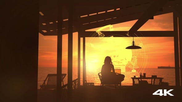 Thumbnail for Girl Sitting At A Laptop By The Sea 4K