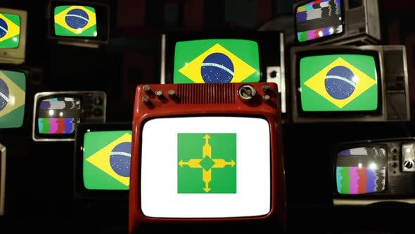 Flag of Federal District and Brazil Flags on Retro TVs.