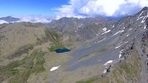 Aerial High Altitude Mountain Lake