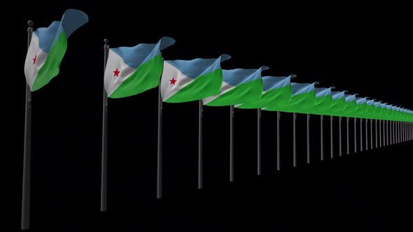 Row Of Djibouti Flags With Alpha 2K