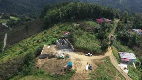 Trabzon City Dorfhaus Bau Antennenansicht