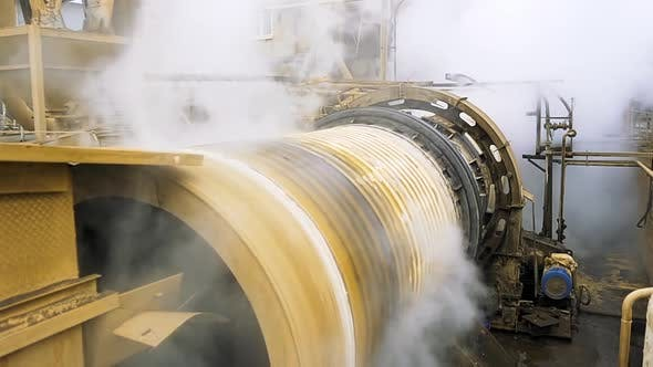 Close up of spinning ore dressing mill