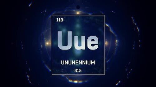 Unnunenium as Element 119 of the Periodic Table on Blue Background