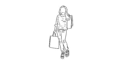 Fille dessinée à la main avec des sacs à provisions sur fond transparent