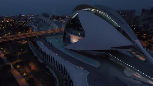 Night aerial cityscape of Valencia
