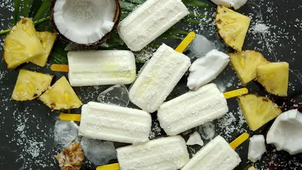 Thumbnail for Summer Popsicles on Stick. Pinacolada Flavour. Made with Pineapple, Cocount Milk, Rum. Vegan Snack