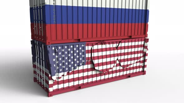 Thumbnail for Container with Flag of Russia Breaks Container with Flag of the USA