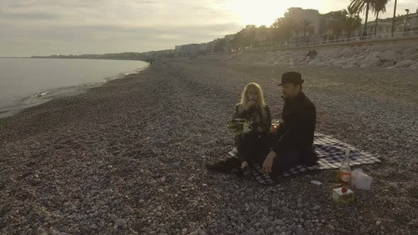 Thumbnail for Man and Woman Drinking Wine on Sea Shore in Nice, Luxurious Weekend Getaway