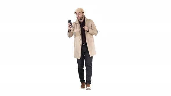Thumbnail for Autumn fashion style man recording video blog walking on