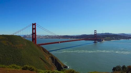 View of Golden Gate Bridge Over San Francisco Bay