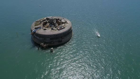 Thumbnail for Aerial View of an Abandoned Sea Fort in the Solent, UK