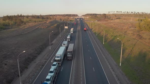 Thumbnail for Aerial View. Intercity Highway Section. Congestion on the Road. Cars and Wagons Are Standing in a