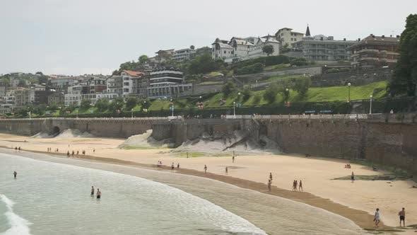 Holidaymakers On Beach At Saint Sebastian