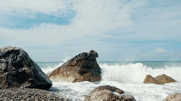 Thumbnail for Big Waves Are Crashing on Stones and Spraying in Slow Motion. Beautiful Beach in Crimea with Stones