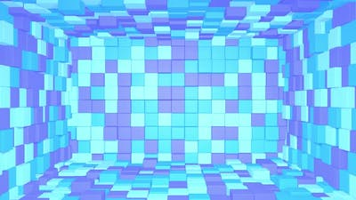 Abstract room interior with blue purple cubes