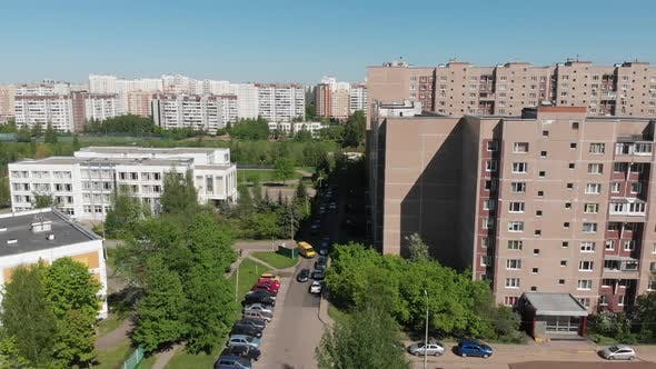 The Cityscape in Moscow From Above Residential Buildings School and Kindergarten