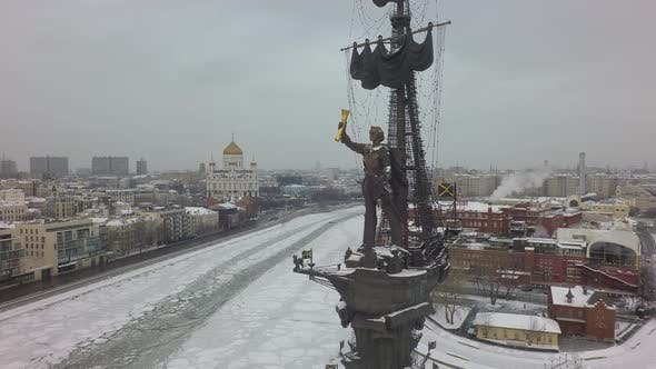 Thumbnail for Moscow Winter Cityscape with River and Peter the Great Statue, Aerial
