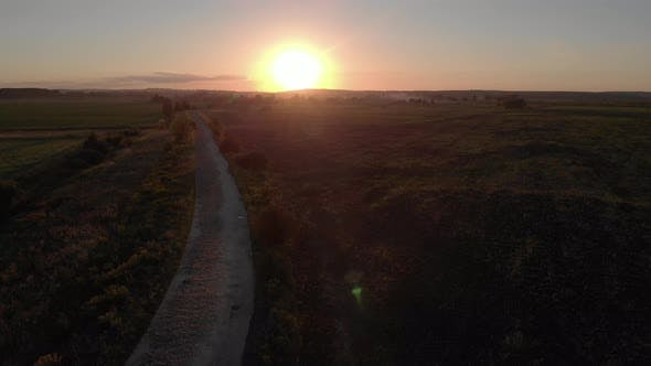 Idyllic Sunset Over Road at Countryside