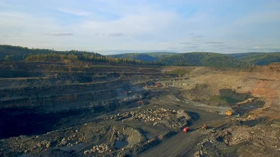 Thumbnail for Copter Takes Off Over Coal Quarry