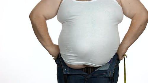 Fat Man Berührt Seinen Fetten Bauch