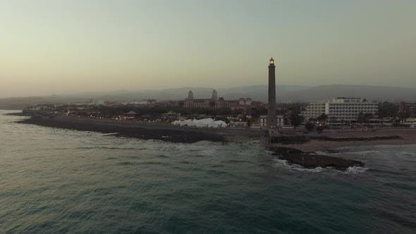 Thumbnail for Aerial Shot of Gran Canaria Coast with Lighthouse