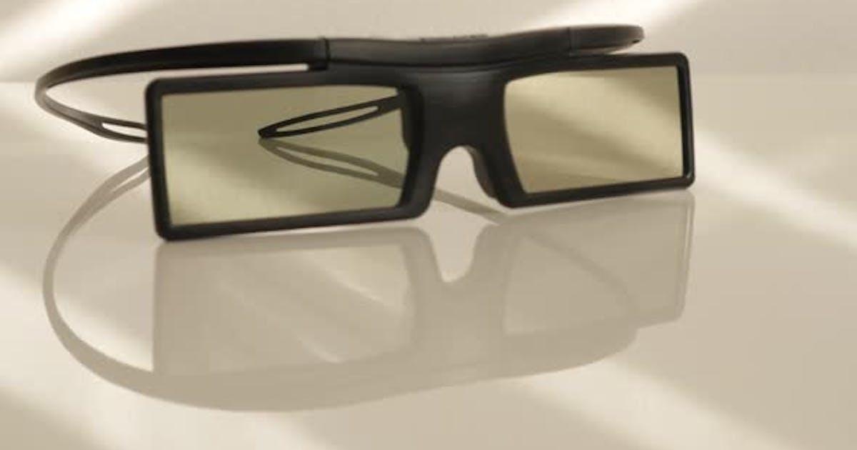Active 3D TV glasses on white reflective surface slow tilt 4K 2160p UltraHD footage - Battery operat