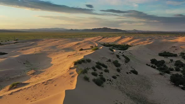 Thumbnail for Aerial View of Sand Dunes at Sunrise in Mongolia