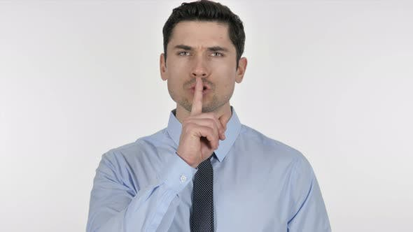 Thumbnail for Finger on Lips, Gesture of  Silence By Businessman