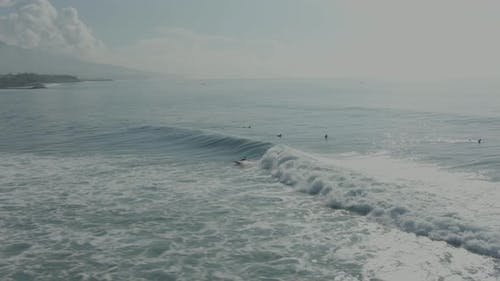 Aerial View Of Group Of Surfers In Ocean In Bali, Indonesia.