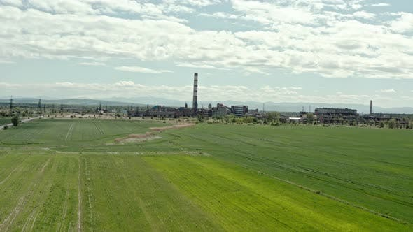 Thumbnail for Aerial Drone View. Coal Power Plant, Big Pipe. Low Flight