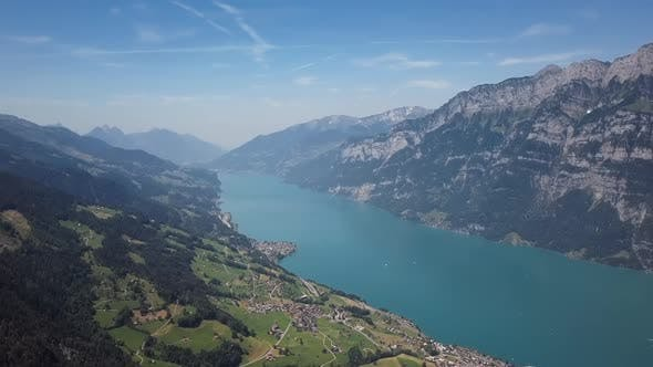 Aerial View of Walensee Lake, Switzerland