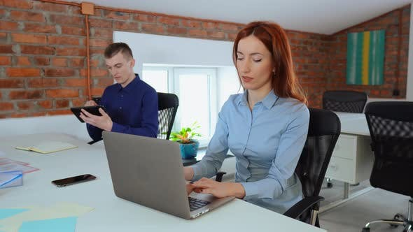 Thumbnail for Beautiful Female Office Worker Works on Her Laptop While Her Male Colleague Uses Calculator