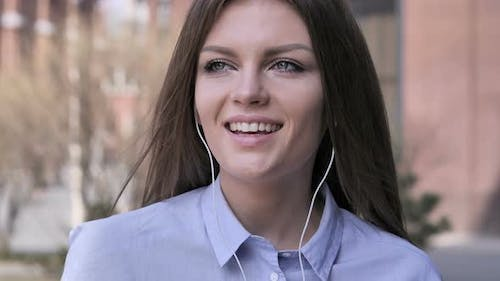 Portrait of Talking Woman, Online Video Chat, Standing Outdoor