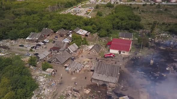 Aerial Panorama of Smouldering Ruins in Village, Aerial View of Burned Houses