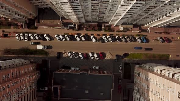 Thumbnail for Top Down View of Fly Between Cityscapes in Downtown with Traffic
