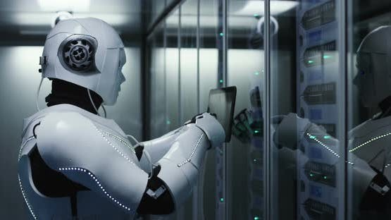 Humanoid Robot Checking Servers in a Data Center