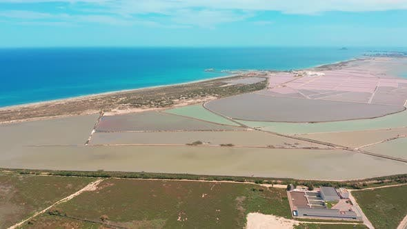 Multicolored Salt Lakes with Coastal Salt Marshes, Aerial View, Video Shooting with Drone