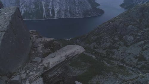 Trolltunga Mountain Cliff in Norway. Famous Troll Tongue Rock. Aerial View