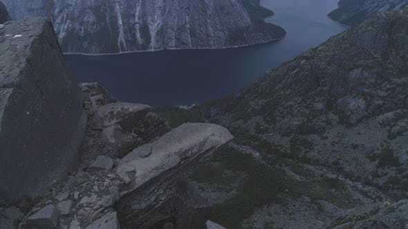 Thumbnail for Trolltunga Mountain Cliff in Norway. Famous Troll Tongue Rock. Aerial View