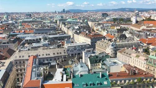 View From St. Stephen's Cathedral Over Stephansplatz Square in Vienna, Capital of Austria on Sunny