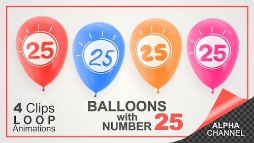 Balloons With Number 25 / Happy Twenty-Five Years Old