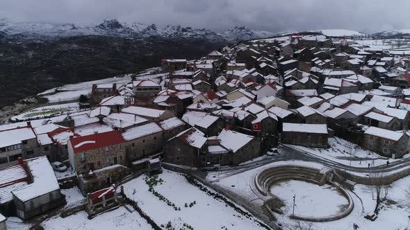 Thumbnail for Aerial View Of Mountain Town In Alps On A Cloudy Day
