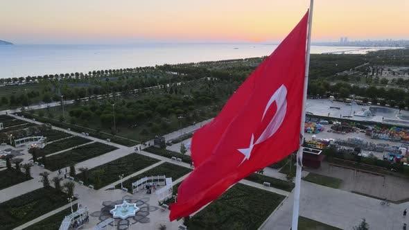 Turkey Turkish Flag with Sunset Drone Shot
