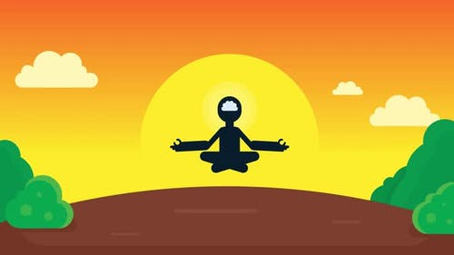 Mindful single person in Lotus Yoga pose flying in air.