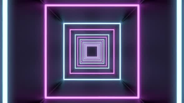 Square Tunnel Loop of Abstract Neon Lights Passing in Front of the Screen