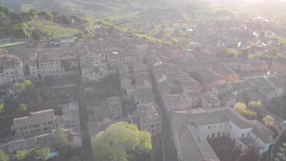 Thumbnail for Aerial Shot The Medieval City of San Gimignano in Italy Tuscan Small Town